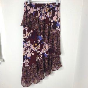 ❤️Mossimo Floral Ruffled Asymmetrical Hem Skirt M